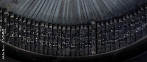 old retro typing machine in the detail -  vintage typewriter machine Fototapeta