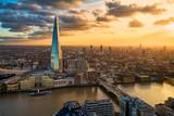 Fototapeta Londyn - Aerial view of London at sunset
