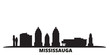 Canada, Mississauga city skyline isolated vector illustration. Canada, Mississauga travel cityscape with landmarks