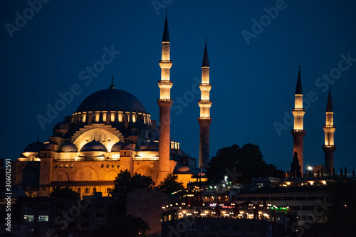 Fotografia Istanbul, Turkey, Middle East: night skyline of the city with view of the illumi