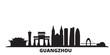 China, Guangzhou city skyline isolated vector illustration. China, Guangzhou travel cityscape with landmarks