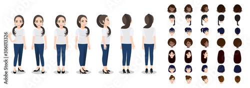 Slika na platnu Cartoon character with a woman in T-shirt white casual for animation