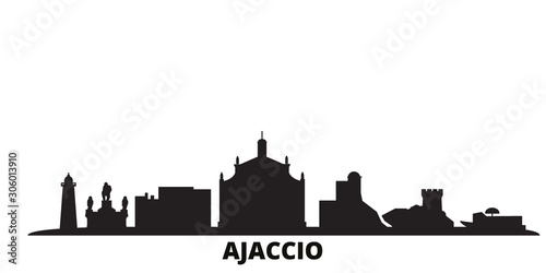 France, Ajaccio city skyline isolated vector illustration. France, Ajaccio travel cityscape with landmarks