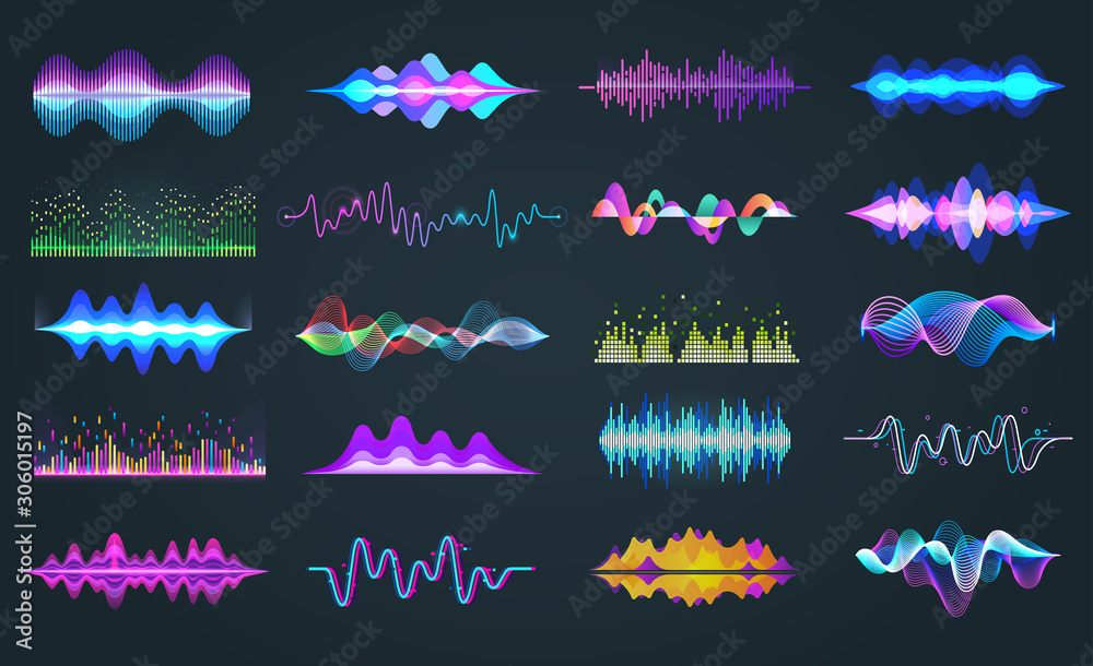 Fototapeta Set of isolated audio equalizer or voice frequency