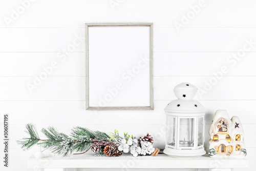 Christmas Frame Mockup on a Light Background