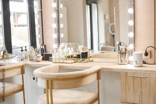 Dressing room interior with makeup mirror and table Fototapet