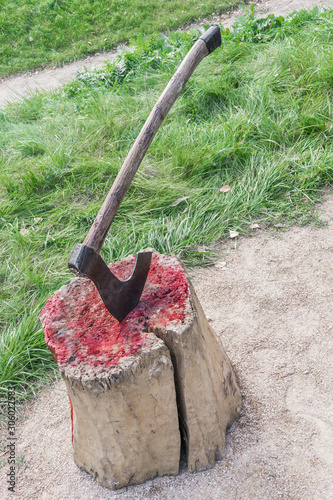 Fotografie, Tablou Bloody wooden block at place of execution of defendant