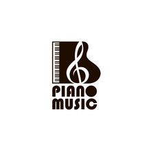 Illustration Of Piano With Treble Clef Isolated On White Background