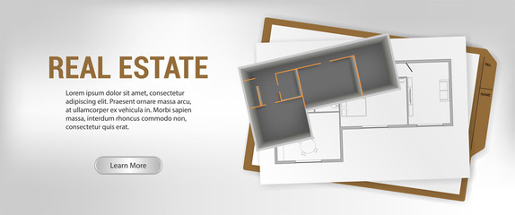 Architectural project with a 3D building model. BIM concept. Part of architectural project, mockup house, apartment, technical project, drawing technical letters, construction plan. Vector mockup
