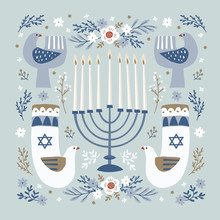 Happy Hanukkah Greeting Card, Invitation With Hand Drawn Candleholder, Ornamental Dove Birds, David Stars And Flowers. Vector Illustration For Jewish Festival Of Light. Floral Decorative Pattern.