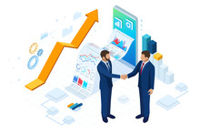Isometric Business To Business Marketing, B2B Solution, Business Marketing Concept. Online Business, Partnership And Agreement