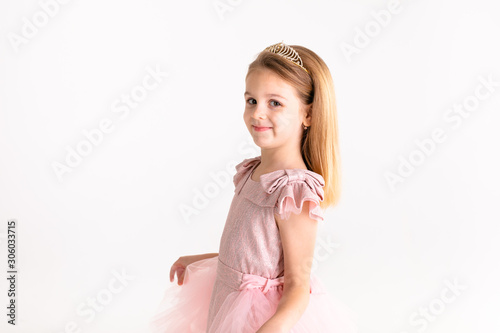 Fényképezés Beautiful little princess dancing in luxury pink dress