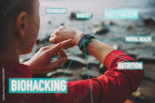Vászonkép Concept of Biohacking, Modern Technology in Health and Sports