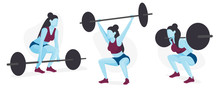 Female Weight Lifter Character Set, Strength Training, Body Building Avatars