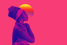 Retro Wave, Neon Vapor Wave Portrait Of African Young Woman With Ethnic Headwrap. Blue And Pink Duotone.