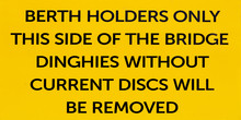 Dinghies Disc Warning Sign