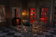 Dark Gothic Room With Bath And...