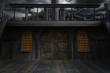 Front of an old ship looking at cabin doors with a dark sky, 3d render.