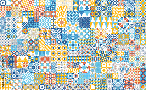 Photo Seamless pattern with portuguese tiles