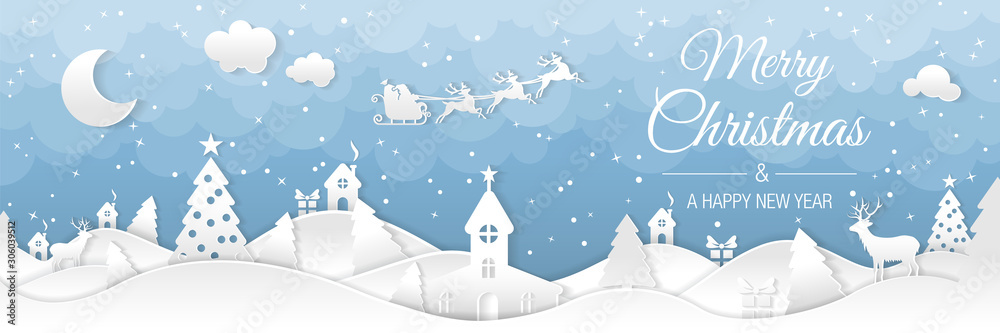 Fototapeta Winter christmas landscape with houses and trees. Merry christmas and happy new year. Santa claus sleigh in the night sky with stars. Vector paper and crafts art
