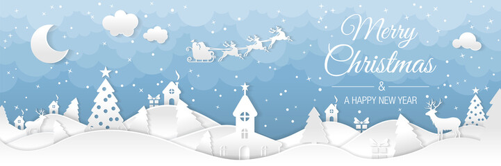 Obraz na płótnie Canvas Winter christmas landscape with houses and trees. Merry christmas and happy new year. Santa claus sleigh in the night sky with stars. Vector paper and crafts art