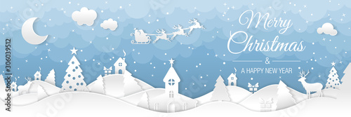 Winter christmas landscape with houses and trees. Merry christmas and happy new year. Santa claus sleigh in the night sky with stars. Vector paper and crafts art - 306039512