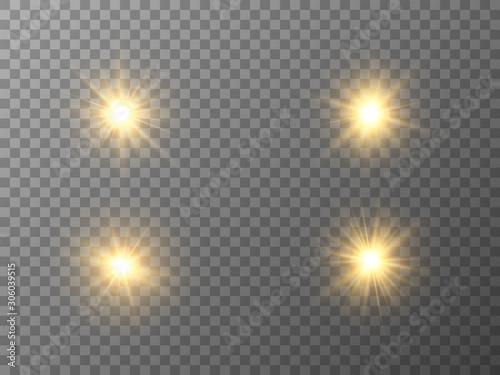 Fotomural  Glowing light stars set