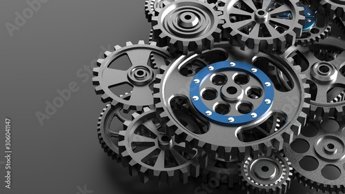 Mechanism, black metallic gears and cogs at work on black background. Industrial machinery. 3D illustration. 3D high quality rendering.