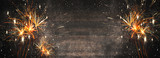 Fototapeta Na ścianę - Silvester background panorama long - Firework on rustic brown wooden texture with space for text
