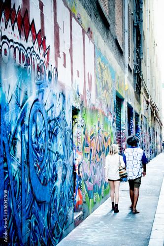 bright Melbourne alley street art - 306042508