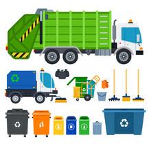 Set Of Garbage Truck Icons Fla...