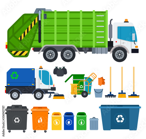 Fototapety, obrazy: Set of Garbage truck icons flat vector
