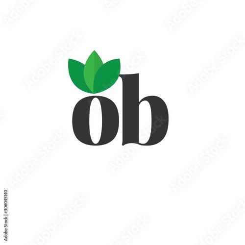 Fotografía  Initial Letter ob Green Leaf Logo Design Template