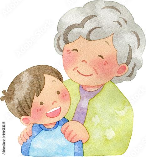 子供の肩に手を置くおばあさん Canvas Print