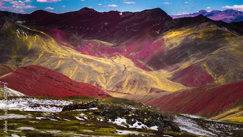 Foto auf Leinwand Kastanienbraun Red Valley near the rainbow mountain in Palccoyo, Cusco, Peru