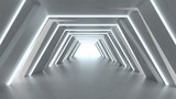 Fototapeta Do przedpokoju - Futuristic tunnel with fluorescent lights 3D render