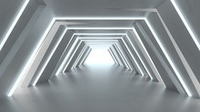 Futuristic Tunnel With Fluores...