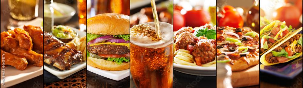 Obraz collage of american style restaurant foods fototapeta, plakat