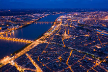 Illuminated Bordeaux City At N...