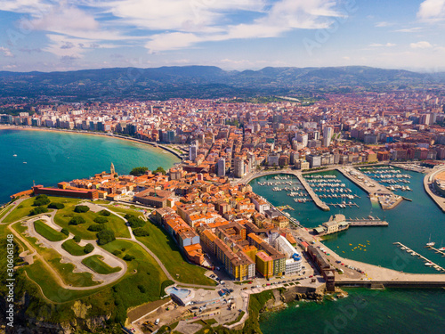 View from drone of Gijon overlooking of sports port