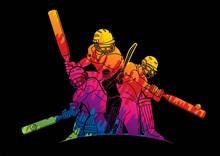 Cricket Players Action Cartoon Sport Graphic Vector