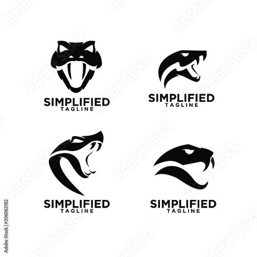 Fotografie, Obraz set of viper snake head logo icon design