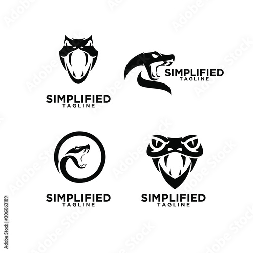 set of viper snake head logo icon design Slika na platnu