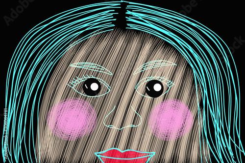 Obraz na plátně  Cartoon line drawing of comedian face on black background