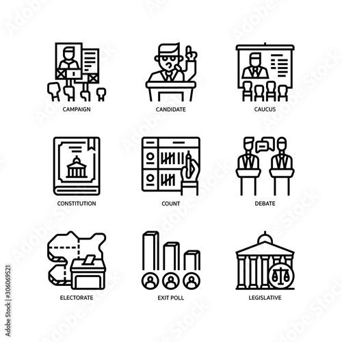 Election icons set Tapéta, Fotótapéta