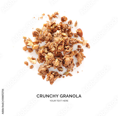 Fotomural  Creative layout made of chocolate granola isolated on white background