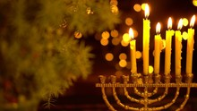 The Fifth Night Of Hanukkah. Five Lights In The Menorah. Chanukah Is The Jewish Festival Of Lights