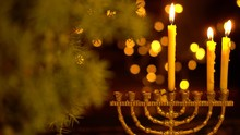 The Second Night Of Hanukkah. Two Lights In The Menorah. Chanukah Is The Jewish Festival Of Lights