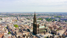 Strasbourg, France. The Historical Part Of The City, Strasbourg Cathedral, Aerial View