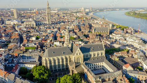 Staande foto Antwerpen Antwerp, Belgium. St. Paul s Cathedral (Sint-Pauluskerk), Aerial View